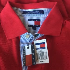 Tommy Hilfiger Shirts - Tommy Hilfiger Red Polo Shirt for Man Large